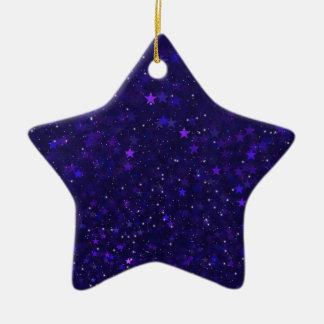 Purple Bokeh Stars Ceramic Ornament