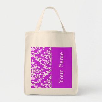 Purple Bold Damask w/ name @ Emporiomoffa Tote Bag