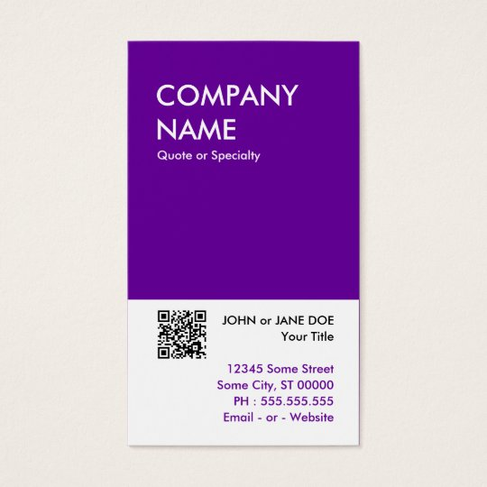 purple bold design your own QR code Business Card