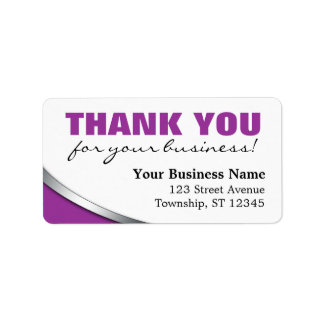 """Purple Bold """"Thank you for your Business"""" Labels"""