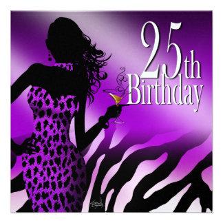 Purple Bombshell Leopard Zebra metallic ice black Personalized Invite