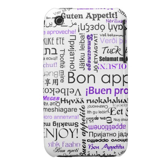 Purple Bon appetit in many languages iPhone 3 Cover
