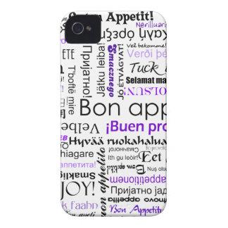 Purple Bon appetit in many languages iPhone 4 Case