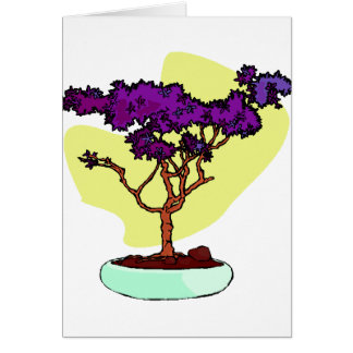 Purple Bonsai Upright Graphic Image Greeting Cards