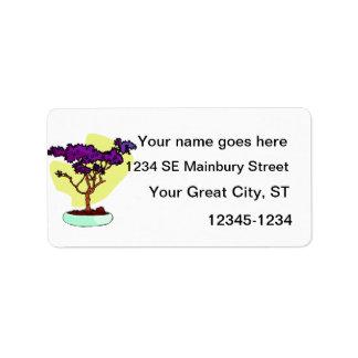 Purple Bonsai Upright Graphic Image Address Label