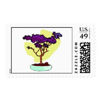Purple Bonsai Upright Graphic Image Postage
