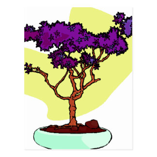 Purple Bonsai Upright Graphic Image Post Cards