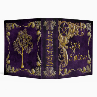 "Purple ""Book Of Shadows"" w/ Gold Highlights #1-L 3 Ring Binder"