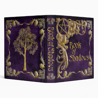 "Purple ""Book Of Shadows"" w/ Gold Highlights #1-Sm 3 Ring Binder"