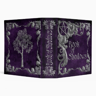 """Purple """"Book Of Shadows"""" w/ Silver Highlights #1-L 3 Ring Binder"""