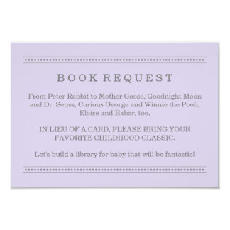 Purple Book Request | Baby Shower Enclosure Card