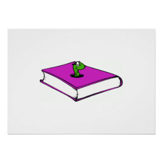 Purple Book Worm Print