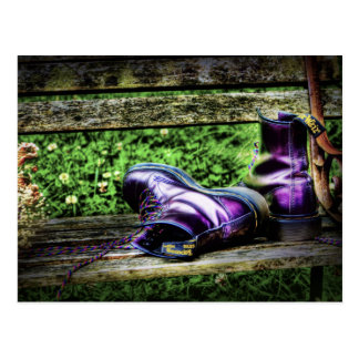 Purple Boots art postcard