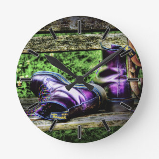 Purple Boots (HDR) wall clock