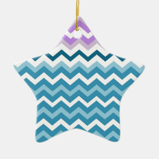 Purple Bordered Chevron Blue and White Zigzags Ceramic Ornament