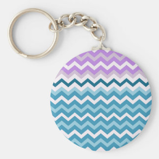 Purple Bordered Chevron Blue and White Zigzags Keychain