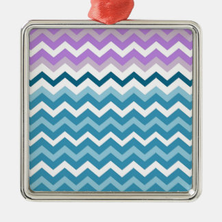 Purple Bordered Chevron Blue and White Zigzags Metal Ornament