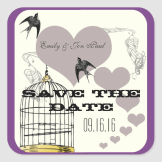 Purple Borders Bird Cage & Hearts Weddings Stickers