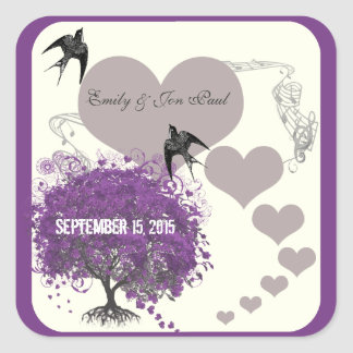 Purple Borders Mink Heart Leaf Tree Weddings Square Sticker