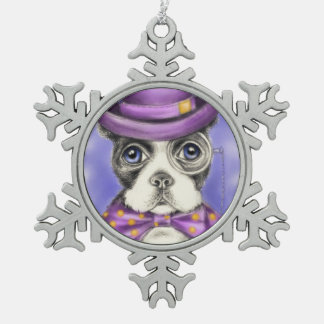 Purple Boston Terrier Detective Snowflake Pewter Christmas Ornament