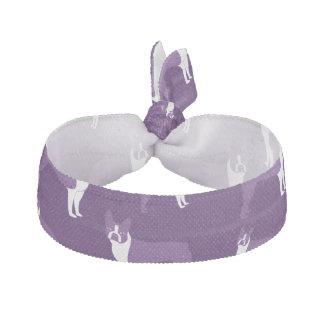 Purple boston terrier ribbon hair tie