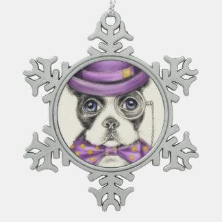Purple Boston Terrier Snowflake Pewter Christmas Ornament