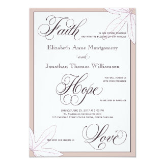 Purple Botanical Christian Wedding Invitation