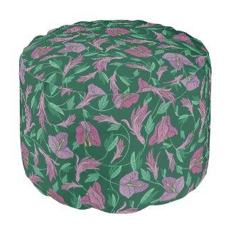 Purple Bougainvillea and Teal Leaf Pouf