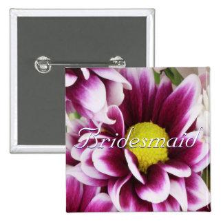 Purple Bouquet Bridesmaid Pinback Button