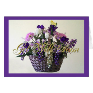 Purple Bouquet Get Well Soon Greeting Card