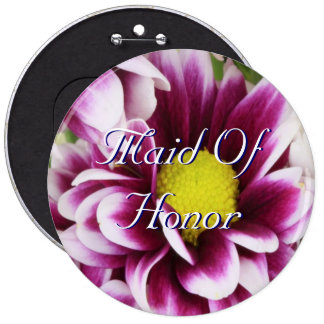 Purple Bouquet Maid Of Honor Pinback Button