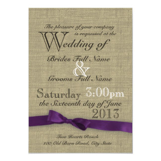 Purple Bow and Rustic Burlap Wedding 5x7 Paper Invitation Card