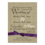 "Purple Bow and Rustic Burlap Wedding 5"" X 7"" Invitation Card"