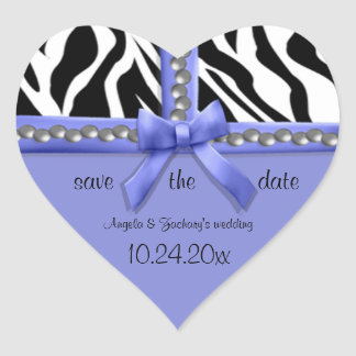 Purple Bow And White Zebra Stripes With Pearls Heart Sticker