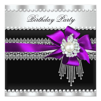 Purple Bow Black Pearl Lace Pearl Birthday Party Card