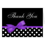 Purple Bow Black Polka Dots Thank You Greeting Card