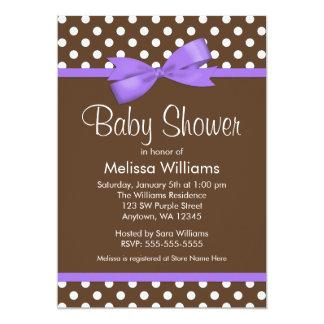 Purple Bow Brown Polka Dot Baby Shower Invitations
