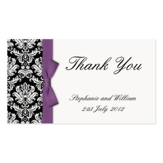 Purple Bow Damask Thank You Cards Double-Sided Standard Business Cards (Pack Of 100)