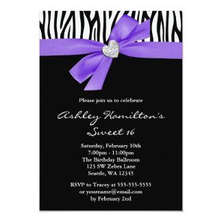 Purple Bow Diamond Heart Zebra Sweet 16 Card