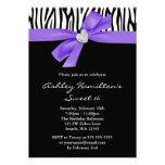 Purple Bow Diamond Heart Zebra Sweet 16 Invite