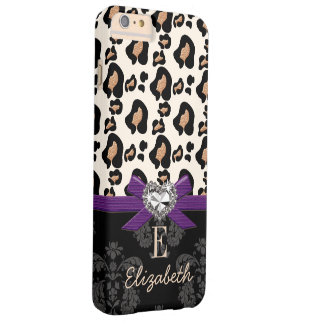 PURPLE BOW FAUX BLING HEART LEOPARD PRINT BARELY THERE iPhone 6 PLUS CASE