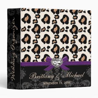 Purple Bow Faux Bling Leopard Wedding Planner Vinyl Binders