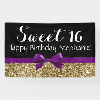 Purple Bow Gold Glitter Sweet 16 Birthday Party Banner