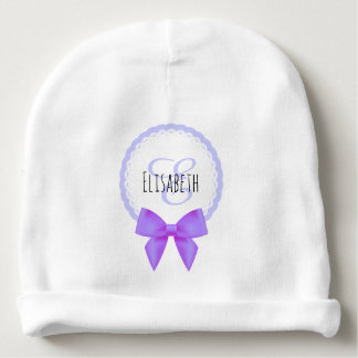 Purple bow lace monogram name baby girl beanie