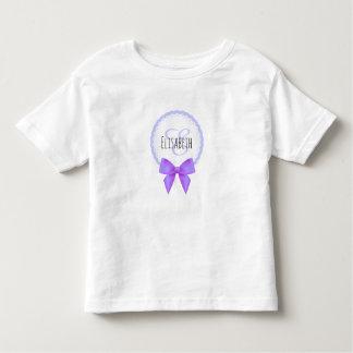 Purple bow lace monogram name toddler girl shirt
