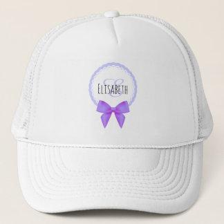 Purple bow lace monogram name woman trucker hat