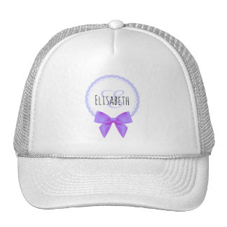Purple bow lace monogram name woman trucker hat