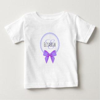 Purple bow lace name monogram baby shirt