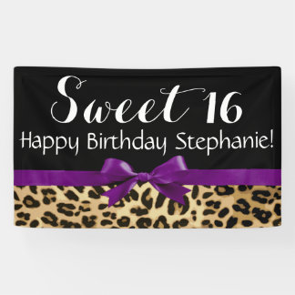 Purple Bow Leopard Print Sweet 16 Birthday Party Banner