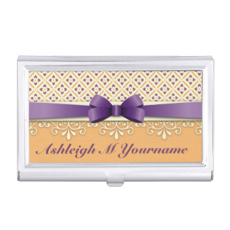 Purple Bow Lotus Yellow Flourish Orange Diamond Business Card Case